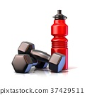 Red plastic sport bottles and black weights. 3D 37429511