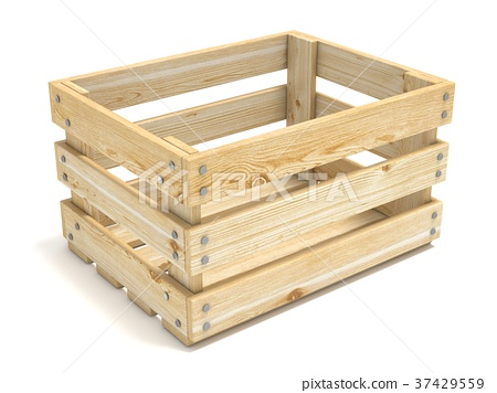 Empty wooden crate. Side view. 3D 37429559