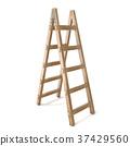 Vertical wooden ladder. 3D 37429560
