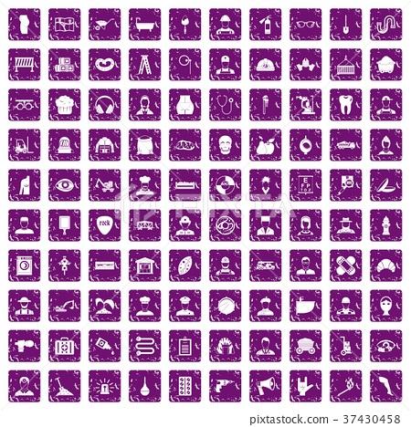 100 different professions icons set grunge purple 37430458