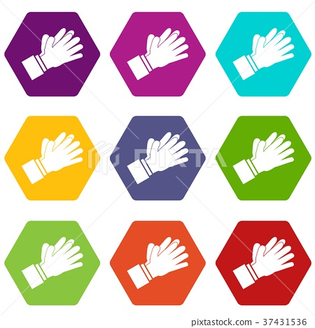 Clapping applauding hands icon set color hexahedron 37431536