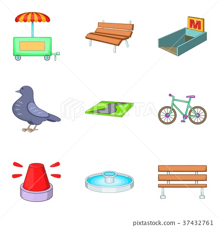 Developed town icons set, cartoon style 37432761