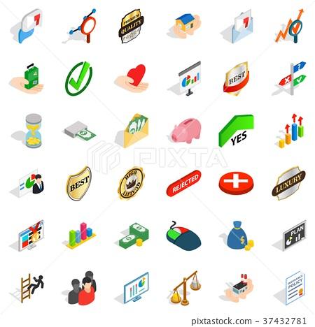 Dminance icons set, isometric style 37432781