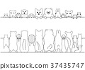 套逗人喜愛的寵物橫幅,面孔和後面,線條圖 37435747