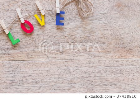 Valentine's day love Letter on wooden board 37438810