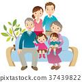 family, three generations, sofa 37439822
