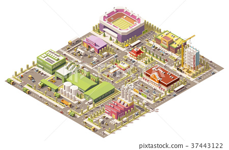 Vector isometric low poly city 37443122