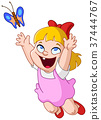 girl chasing butterfly 37444767