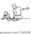 husband and wife in quarrel in kitchen  37445089