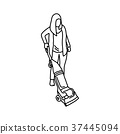 Woman using a vacuum cleaner vector illustration 37445094