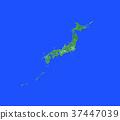 日本地圖 日本列島 綠色 37447039