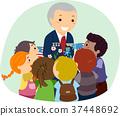 Senior Man Stickman Kids Veteran Illustration 37448692