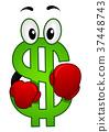 Dollar Mascot Boxing Illustration 37448743