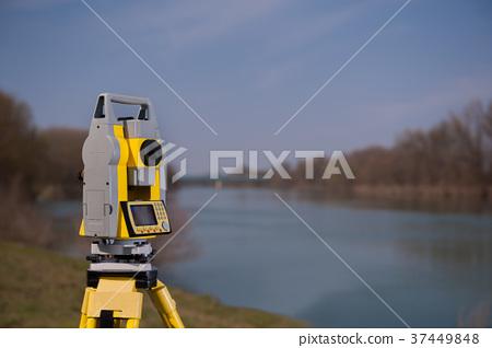 Surveyor equipment on a tripod 37449848