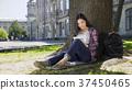 beautiful, lady, studying 37450465