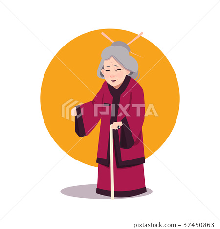 Senior Asian Woman In Japanese Kimono Old Geisha 37450863