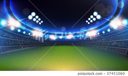 Sport Stadium With Lights And Tribunes Background 37451060