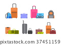 Suitcases, Bags And Backpacks Set Of Icons 37451159