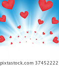 Valentine Day of sunburst light on sky background 37452222
