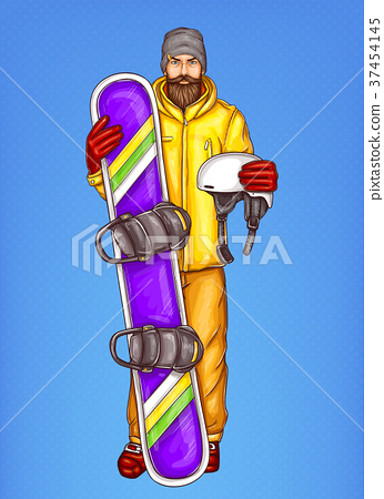 Vector pop art bearded man with snowboard 37454145