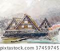 Shirakawago in early spring Shirakawago handwriting sketch beautiful 37459745
