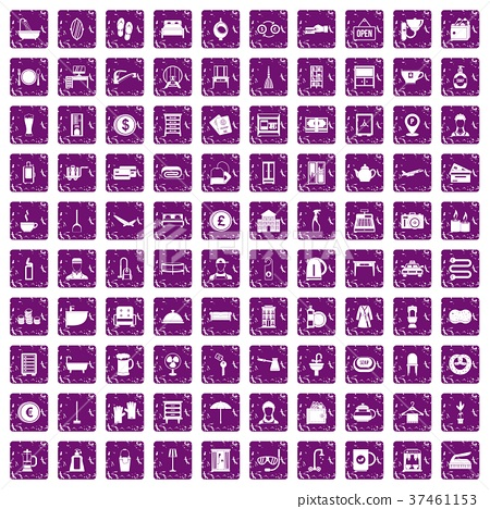 100 inn icons set grunge purple 37461153