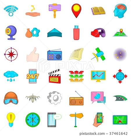 Compass icons set, cartoon style 37461642