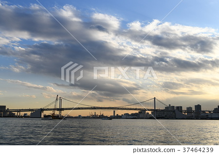 """Tokyo cityscape of Japan """"I look at the blue sky and clouds, rainbow bridge etc."""" 37464239"""