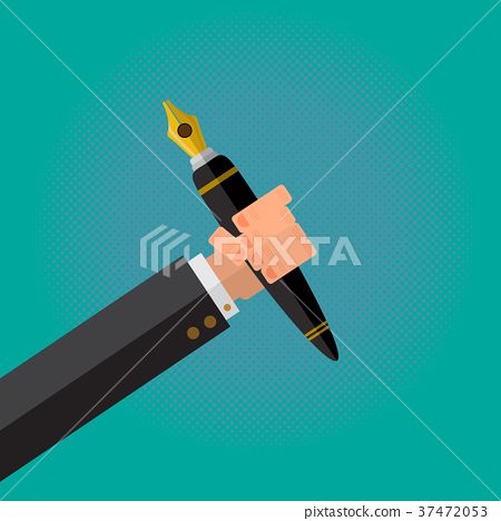 The Calligraphy Pen in a Writer Male Hand. 37472053