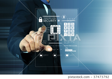 Businessman pressing virtual buttons 37473792