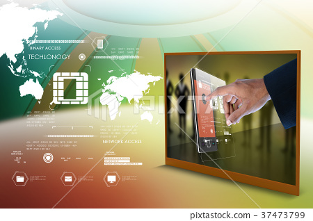 Businessman pressing virtual buttons 37473799
