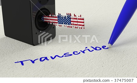 Loudspeaker standing on paper with a american flag 37475007