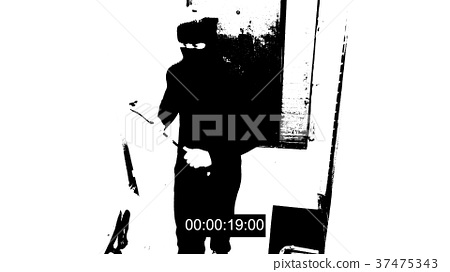 the robber in the mask c has a crowbar in his 37475343