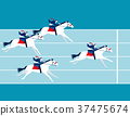 Business race. Business people ride a horse. 37475674