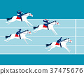 Business race. Business people ride a horse. 37475676