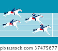 Business race. Business people ride a horse. 37475677