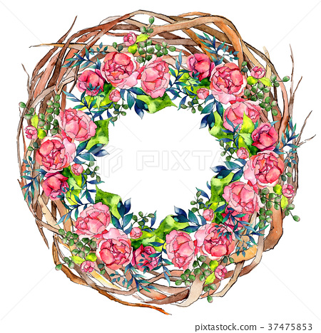 Forest twig branches wreath in a hand drawn 37475853