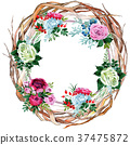 watercolor, colorful, wreath 37475872