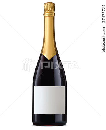 Champagne bottle with gold foil isolated. Vecto 37478727
