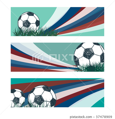 Set of soccer banners with sketch ball 37478909