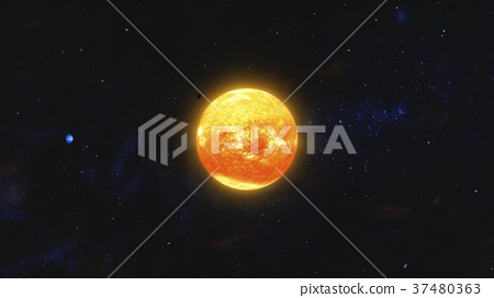 Space debris and gas planet orbiting red star 37480363