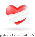 hurt heart with white bandage on white background 37480774