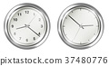 steel vintage wall clock on a white background 37480776