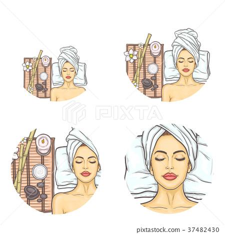 Vector set of female avatars in pop art style 37482430