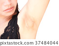 Women problem black armpit on white background 37484044