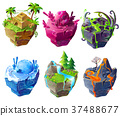 Vector isometric 3d fantasy island set game design 37488677