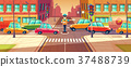 Vector illustration of adjusting city crossroads 37488739