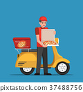 Delivery man handling pizza box to customer. 37488756