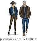 Vector woman and man 37490819