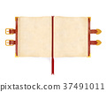 Opened ancient book with red leather cover 37491011